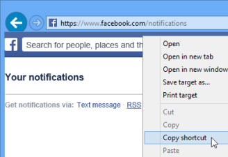 Facebook Notifications page